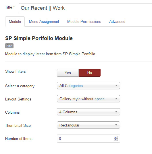 after installing sp simple portfolio module and component please go to extensions modules manager click on sp simple portfolio module to edit it